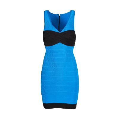 v neck colour block bandage dress blue